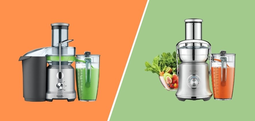 side by side picture of Breville Juice Fountain Cold vs Cold XL centrifugal juicers