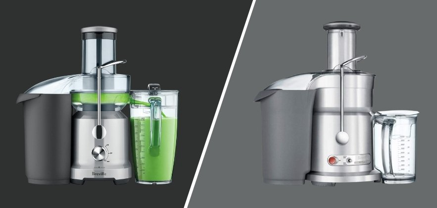 Picture of the Breville Juice Fountain Cold vs Elite side by side