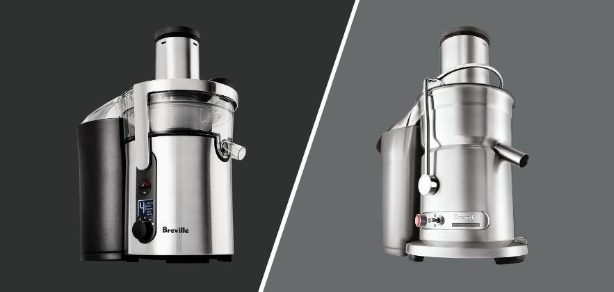 Picture of the Breville Juice Fountain Duo vs Elite side by side