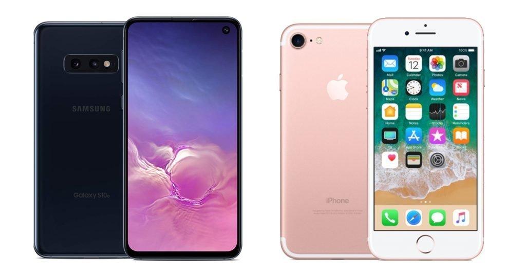 Galaxy S10e vs iPhone 7 Design
