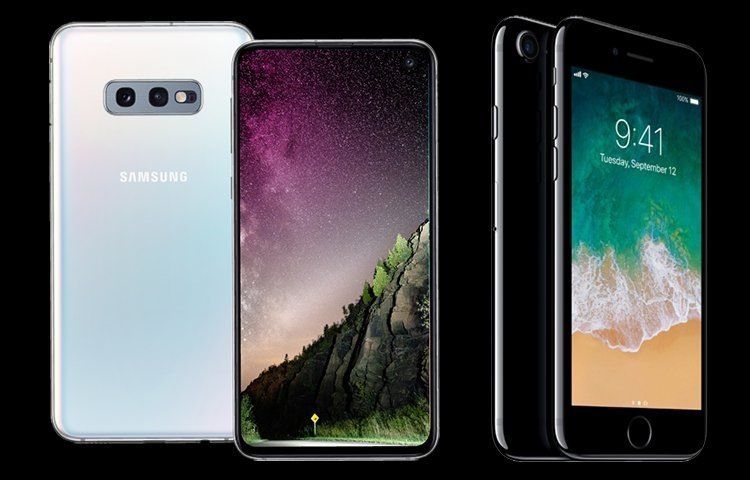 Galaxy S10e vs iPhone 7 Display