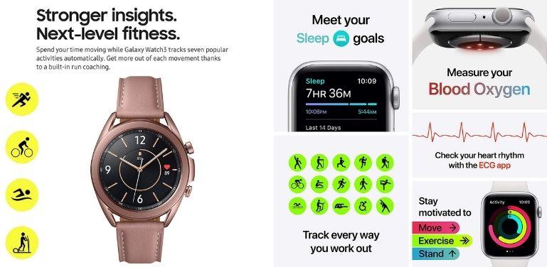 Galaxy Watch 3 vs Apple Watch 6 health features