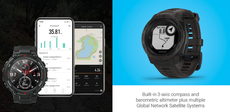Amazfit T-Rex vs Garmin Instinct Outdoor Watch Comparison Activity Tracking