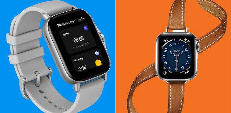 Amazfit GTS 2 vs Apple Watch Series 6 Design