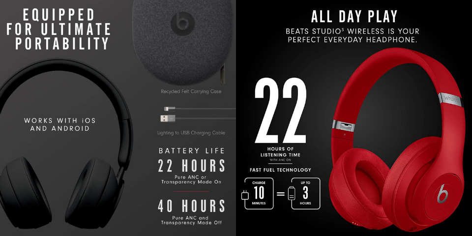 beats solo pro vs beats studio 3 battery life