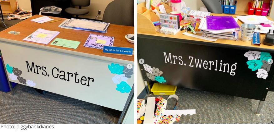 cricut vinyl teacher's desk