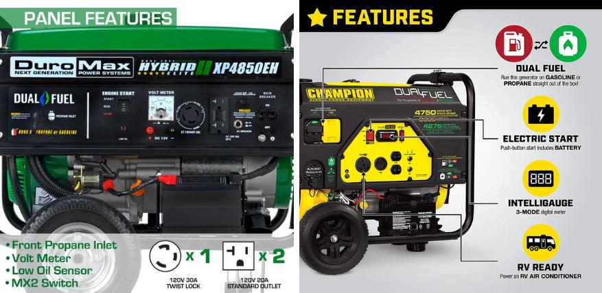 panel features duromax vs champion generator