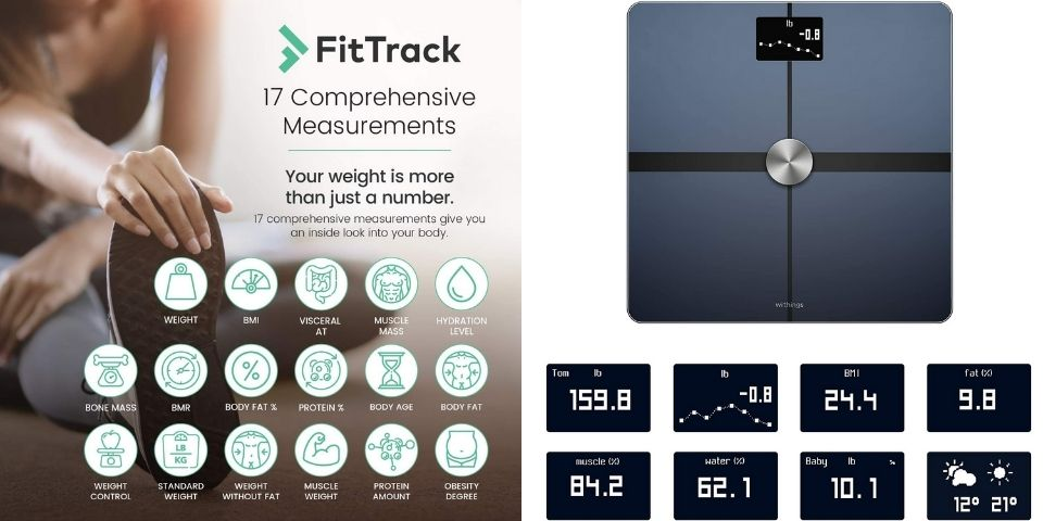 Metrics Tracked by FitTrack Dara and Withings Body+