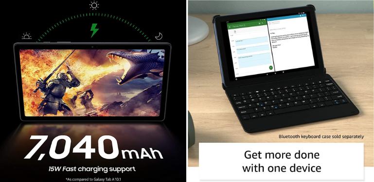 Samsung Galaxy Tab A7 vs Amazon Fire HD 10 Battery Life