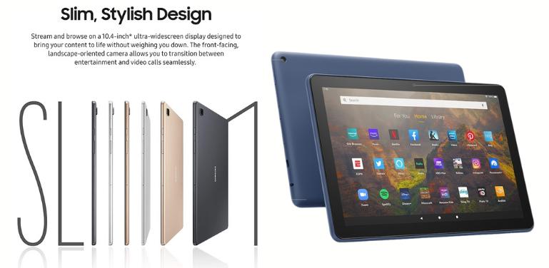 Samsung Galaxy Tab A7 vs Amazon Fire HD 10 Design Comparison
