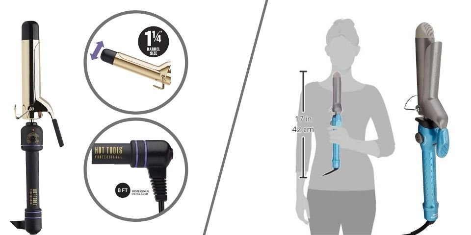 HOT TOOLS and BaByliss curling iron differences in dimensions