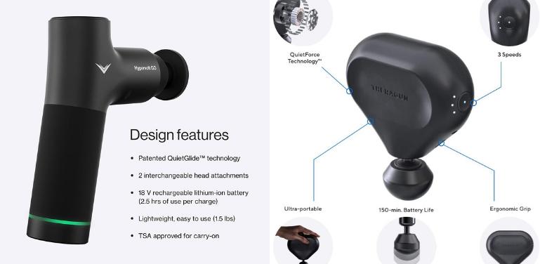 Hypervolt GO vs Theragun mini Design and Build