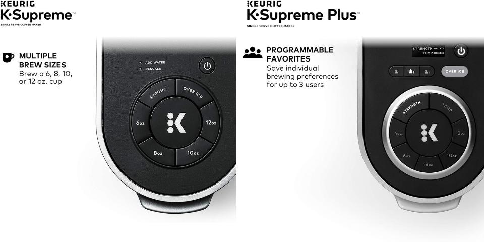 keurig supreme vs supreme plus controls