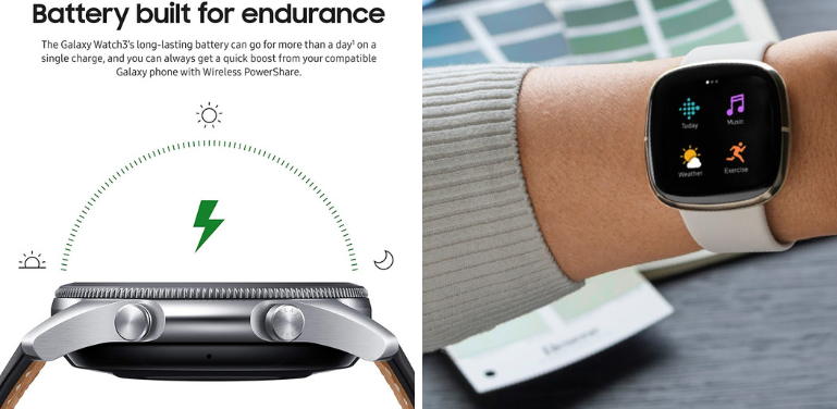 Samsung Galaxy Watch 3 vs Fitbit Sense Battery Life