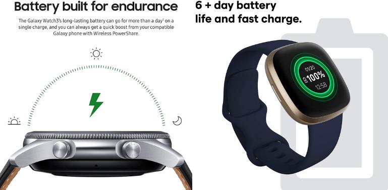 Samsung Galaxy Watch 3 vs Fitbit Versa 3 Battery Life