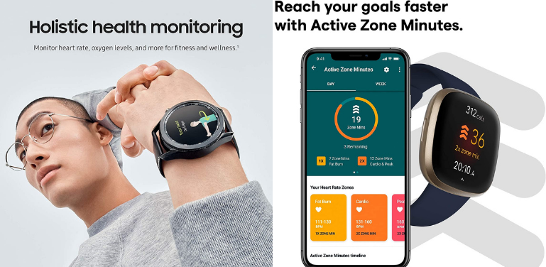 Samsung Galaxy Watch 3 vs Fitbit Versa 3 Health and Fitness Monitoring