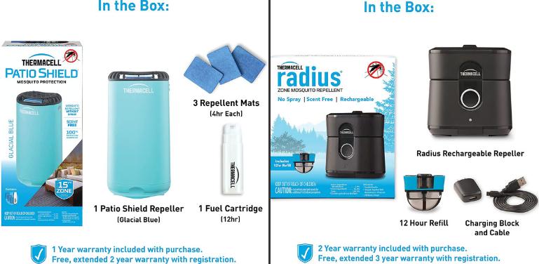 Thermacell Patio Shield vs Radius Design Comparison
